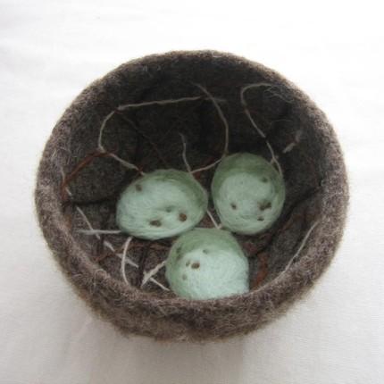 birds nest felt felted bowl container handmade robins egg