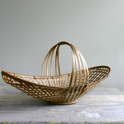 vintage woven gathering basket brown natural