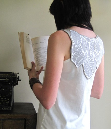 leaf, applique, tank top, sleeveless, tshirt, pretty